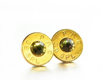 Bullet Stud Earrings- Brass and Forest Green