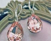 Blush Pink Earrings Pink Bridal Earrings Blush Pink Bridesmaid Earrings Vintage Earrings Wedding Jewelry Pink Teardrop Earrings