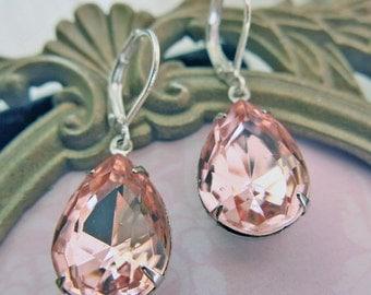 Blush Pink Bridal Earrings Pink Drop Earrings Valentines Gift Crystal Earrings Vintage Earrings Wedding Jewelry Pink Teardrop Earrings