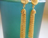 Shiny Gold Knot and Chain Dangling Tassel Earrings