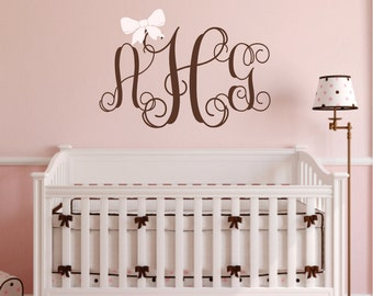 Monogram Decal -  Monogram Wall Decal with Bow - Children Wall Decal - Nursery Wall Decal - Wedding Monogram Decal - Vinyl Lettering