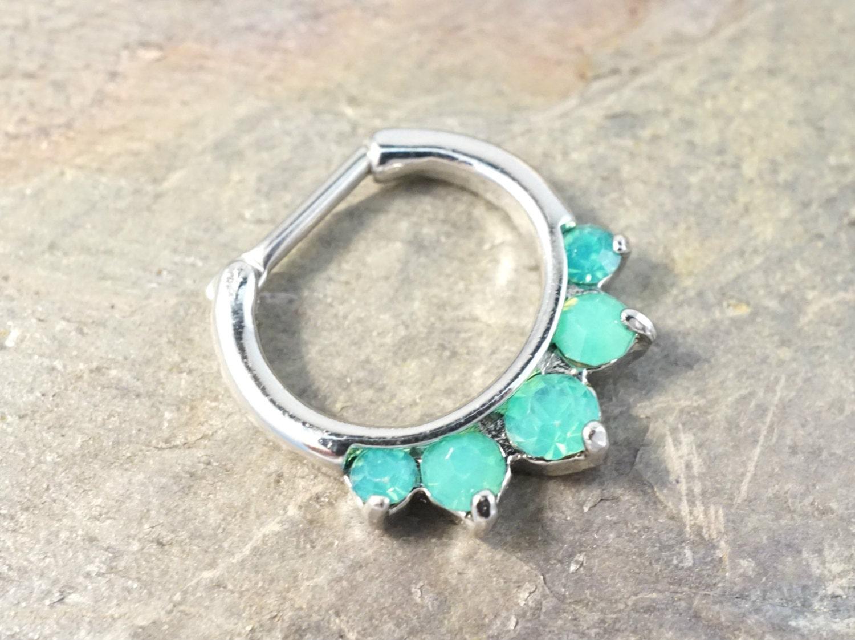 Septum Ring Septum Clicker Daith Piercing 16 Gauge Mint Green