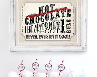 Polar Express Hot Chocolate Poster Red - INSTANT DOWNLOAD - Printable Birthday Christmas Party Sign, Hot Cocoa Stand, by Sassaby Parties