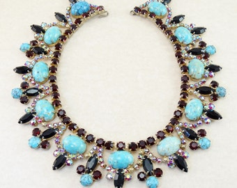 Exquisite Vintage D&E JULIANA Ruby Red Rhinestone / Turquoise Matrix Collar Necklace - Rare Runway Showstopper!