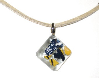 Upcycled / Recycled / Glass / Resin / Blue / Corona / Pendant / Silver Bail