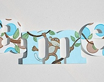Little Monkeys Wooden Wall Name Letters / Hangings, Hand Painted for Boys and Girls Rooms, Play Rooms and Nursery Rooms