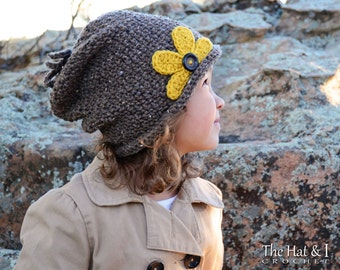 CROCHET PATTERN - Pretty Petals Slouchy - crochet slouchy hat pattern crochet hat pattern (Toddler Child Adult sizes) - Instant PDF Download