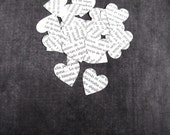100 Spanish Text Hearts, Handmade Die Cuts, Party Decor, Confetti, Weddings, Showers