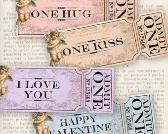 Valentine Tickets Love Ticket Strips printable images instant download digital collage sheet VD0696