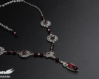 Victorian Necklace - Red Gothic Necklace with Crystals - Gothic Victorian Jewelry