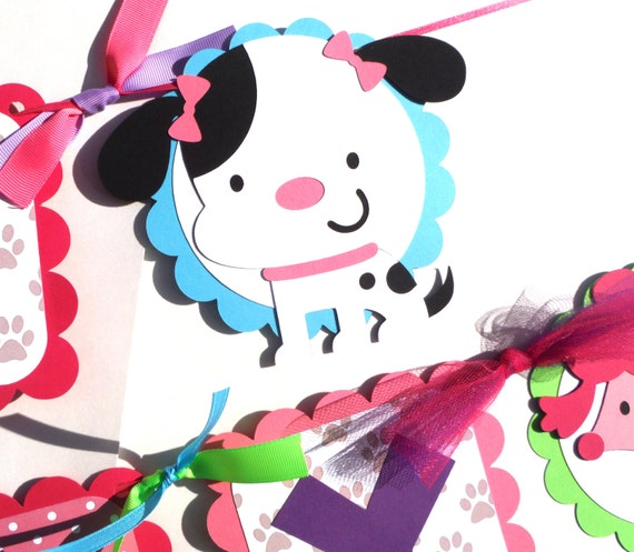 Cat Birthday Banner: Puppy Dog And Kitty Cat Party Happy Birthday Banner Cute Girly