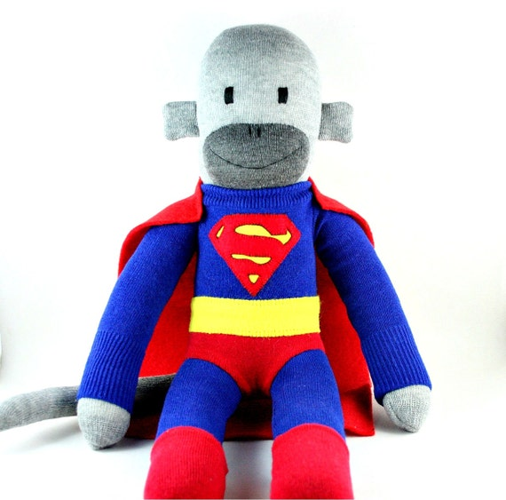 Superman the Sock Monkey - MADE TO ORDER