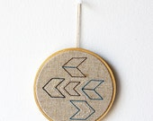 "Chevrons - Embroidery in wooden hoop 5"" - Geometric - Minimal - Natural - Gift idea"