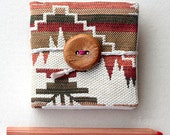 Ikat mini notebook - Fabric covered notebook - Tribal - Gift idea - Stocking ctuffers - Christmas - Handmade - Not lined pages - Brown