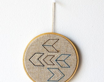 Embroidered decor - Chevrons - Geometric - Minimal - Natural - Gift idea