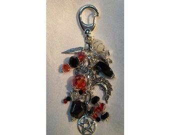 Morrighan Charm Clip for Purse / Bag / Jeans / Car - Goddess Morrighan - Garnet/Onyx/Moonstone