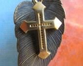 5 Vintage Beveled Solid Cross