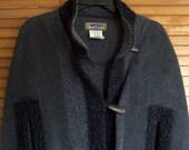 Charcoal Grey Boucle Fleece Cape Coat by Krakerz of Canada