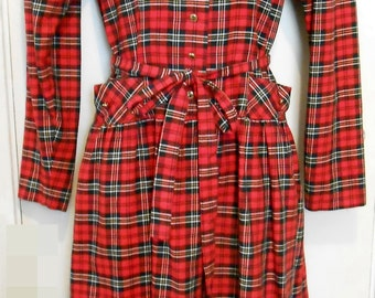 Lanz/Plaid/Holiday/Dress/70s/Baby Doll/Tartan/School Girl/Size 8
