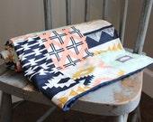 Patchwork Baby Blanket, Navy Peach Mint and Gold Baby Blanket, Aztec Crib Blanket