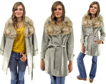Mod 60s Leather Coat, Boho Coat, Mink Fur Collar, Wrap Leather Coat, Bohemian, Hippie, Leather Coat Δ fits sizes: xs / sm / md