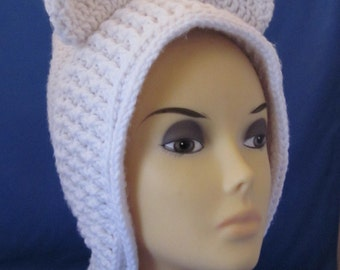 Wrap, Neck Warmer, Girls Cowl, Hooded Cowl/Scarf , Crochet Hooded Cowl Hat, Cat Cowl, Animal Neck Hoodie, Pixie Hat