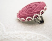Blush Pink Rose Brooch Pin - Fabric Flower Brooch in Silver and Lace