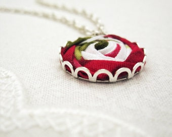 Belle Rose Necklace - Ruby Red Fabric Flower Necklace - Once Upon a Time