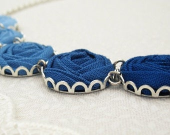 Atlantic Necklace - Something Blue Fabric Flower Necklace in Pacific, Nightfall & Stardust Blue