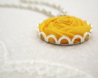 Solar Yellow Rose Necklace - Fabric Flower Bridesmaid Necklace in Sunshine & Wheat