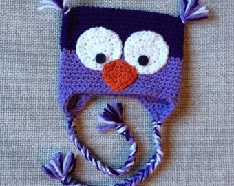 Crochet CrAzY oWl beanie with earflaps - Newborn, 3-6 month & 6-12 month size