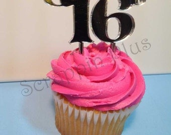 Acrylic Sweet 16 Cupcake Toppers - 6 Pack