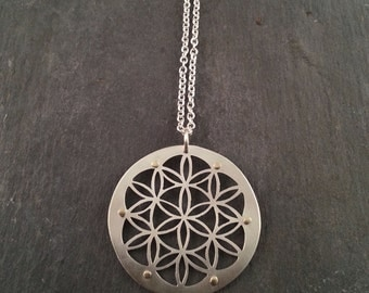 Silver Flower of Life Pendant - Handcrafted Sacred Geometry Jewellery