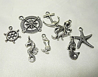 Silver Nautical Charm Mix. Lot of 8  Jewelry Making Supplies