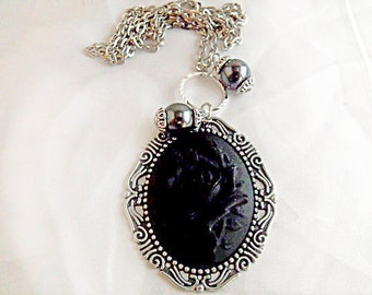 Silver Cameo Necklace,     Gothic Black Rose Cameo With Matching Pearls  Womens Gift  Handmade