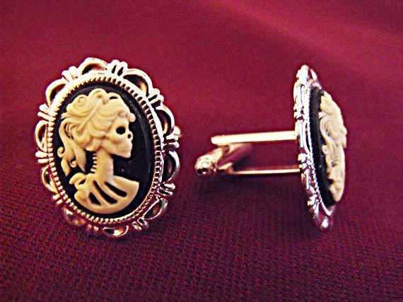 Mens Cufflinks,  Mens   Gothic Lolita Cameo Skeleton  Groomsmen Wedding Accessory Silver Handmade