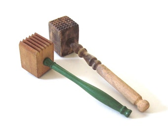 Wood Meat Tenderizer Primitive Kitchen Utensils Green Wooden Handle Wood Mallets Food Photography Props