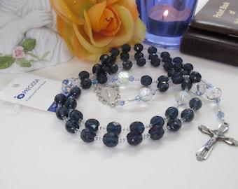 Catholic Rosary 8mm Navy Blue Preciosa Czech Beads Pewter Crucifix