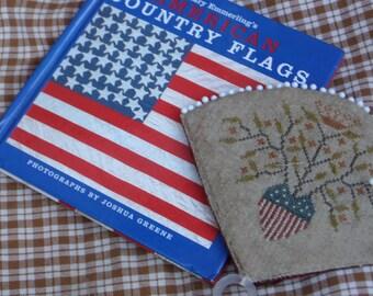 Patriotic Fan Pinkeep Shelf Tuck Cross Stitch Primitive