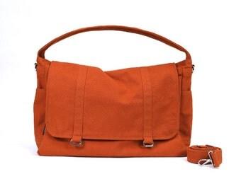 ASHTON // Burnt Orange / Lined with Beige / 066 // Ship in 3 days // Messenger Bag / Diaper bag / Shoulder bag / Tote bag / Gym bag