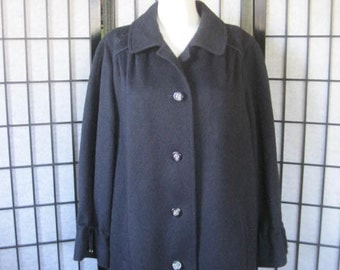 Vintage Loden Coat by Alpen Loden Impragniert Wool Navy Blue Single Breasted 44 Large Ladies Outerwear 1970s 1980s Big Gal Volup