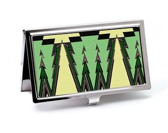 Business Card Case, Green With Envy Art Deco Design, Credit Card Holder, Slim Metal Wallet