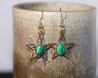 Malachite Gold Plated Earrings - Item 1384