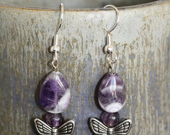 Chevron Amethyst Butterfly Earrings - Item 1517