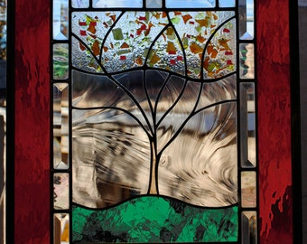 Personalized Family Tree Stained Glass Window Panel RED Amber Green Gold