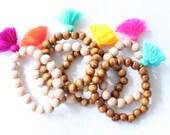 Tassel Bracelet, Beaded Colorful Tassel Bracelet, Statement Bracelet, Wood Bead Tassel Jewelry, Tassel Jewelry