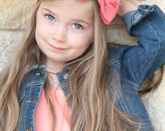 New { the Adeline } coral lace bow headband . Newborn, toddler, child, teen, adult