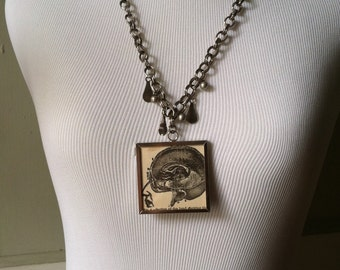 Handmade 'Figure 4' Double Sided Medical Print Necklace