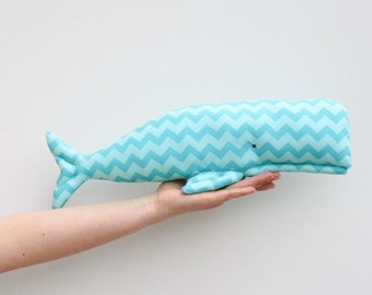 Stuffed whale toy plush softie BIG whale handmade sea creature child friendly toy teal turquoise fish sea ocean baby shower gift