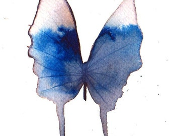 ultramarine blue and grey white butterfly original watercolour painting 7 x 5""
